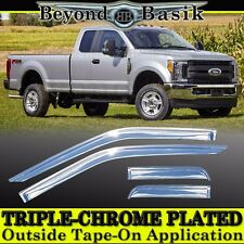 2017 2018 Ford Superduty 4Dr F250-F550 Super Extended Cab Chrome Door Vent Visor