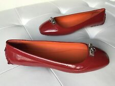 """HERMES LIBERTY """"CHERRY TOMATO"""" BORDEAUX PATENT LEATHER LOAFERS MOCCASIN FLATS 38"""