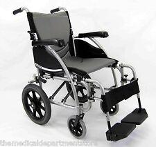 "Karman Ergonomic Transport Chair Wheelchair  S-Ergo115TP - 20"" x 17 Seat, silver"