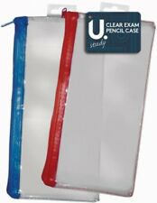 "Clear Quality Strong Exam Pencil Case Coloured Zips 8"" Red & Blue Send At Random"