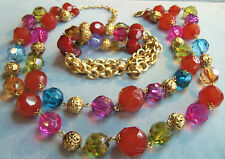 ROBERT ROSE QVC COLORFUL LAYERED BEAD NECKLACE & BRACELET UNWORN PINK BLUE GOLD