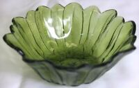 "VINTAGE AVOCADO GREEN INDIANA GLASS FLOWER SUNFLOWER PETAL 7"" BOWL CANDY DISH"