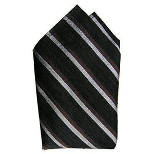 "Stripes Noir Silk Pocket Square, 100% Silk Dupioni - Full-Sized 16""x16"""