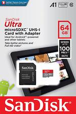 SanDisk Ultra 64 Go MicroSDXC Carte Mémoire + Adaptateur SD avec A1 App 100MB/s rapide U1
