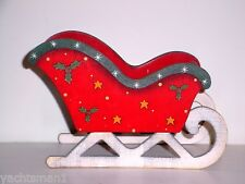 """Red Wooden Sled Sleigh 9"""" Long x 6"""" High x 4-3/4 Wide ~ New"""