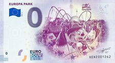 BILLET 0 ZERO EURO SOUVENIR EUROPA PARK CAMP RESORT  2019-1