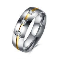 6mm Titanium Steel CZ Elegant Bands Mens/Women's 18K Gold Wedding Ring Size 5-13