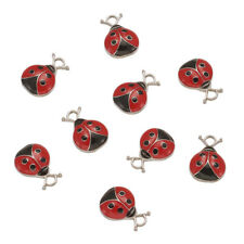 10pcs Alloy Enamel Ladybug Pendants Dome Charms Jewelry Keychain Making 19mm