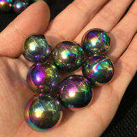 Rainbow aura sphere titanium quartz crystal ball healing 5pcs