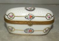NEW Oblong Flowered White no.76 Porcelain Limoges Box