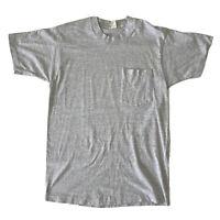 Vintage Hanes Mens Medium Plain Blank Pocket T-Shirt Single Stitch Made In USA