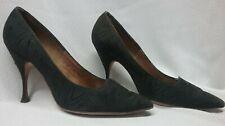 Antique Vintage Ladies Shoes, 1950S Spike Heel Pumps, Textured Moire, Black 5B