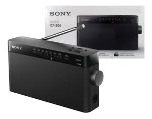 Sony ICF-306 Portable AM/FM Radio with Embed Speaker, Antenna and Headphone Jack