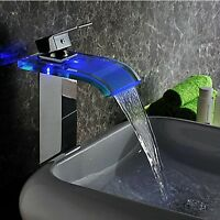 3 Color LED Waterfall Glass Spout Bathroom Basin Sink Mixer Faucet Brass Taps