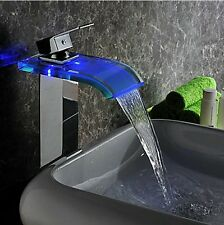 Bathroom Glass Waterfall Basin Faucet LED 3 Color Chrome Spout Sink Mixer Tap