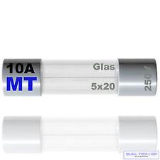 10x  10A 5 x 20 Mittelträge 250V Glas Feinsicherung Feinsicherungen  MT 10 A