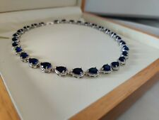 White gold finish blue sapphire and created diamonds Necklace