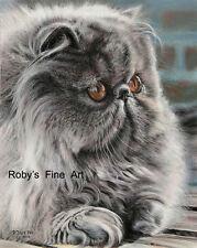 "Persian Cat Art Print ""Lilla Boss"" Giclee 5""x7"" by Realism Artist Roby Baer Psa"
