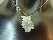Mother of Pearl Owl Necklace Pendant Figural Carved