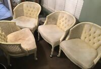 Antique Set Of 4 Vintage Hollywood Regency Barrel Cane Wood Club Chairs Yellow