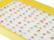 Wholesale 20pcs Bulk Gold Plated Cute Kids/Children Party Crystal Fashion Rings