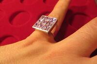 Eleganter Silber Ring 925 rosa Steine groß modern