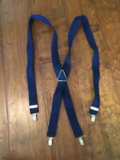 Suspenders Navy Blue  X Back Style No Slip Gold Tone Metal Clip adjustable 43""