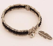 Tibetan Silver Feather Bangle Women Gypsy Turquoise Vintage Bracelet Bohemian