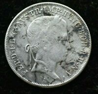 1848 AUSTRIA FERDINAND I 20 KREUZER SILVER COIN - GREAT CONDITION COIN
