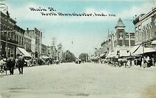 c1910 Postcard; Main Street Scene, North Manchester IN Wabash County Posted
