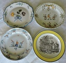 4 ASSIETTES  EN FAIENCE MOUSITERS MONTEREAU ROANNE