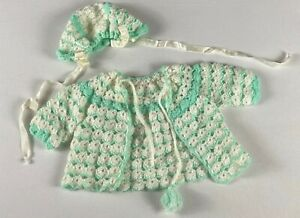 Crochet Sweater & Hat VTG Girls Baby Fits 6-12 Months Long Sleeve Cover Ribbon