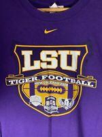 2008 Mid Check Nike LSU Tiger Football New Orleans Purple Shirt