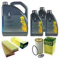 Inspektionspaket 8L Mercedes Öl 229.5 5W40+ MANN Luftfilter Ölfilter 11132255