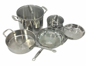 8 Piece Cuisinart Stainless Steel Cookware Pots and Frying Pans Some with Lids