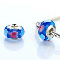 L'Amour, Blue Heart's Murano Glass Charm. Genuine And Stamped 925 Silver