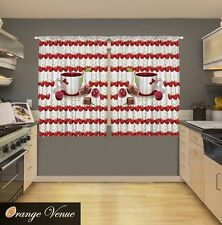 "55"" x 39"" 2-Pc. Espresso Cups Kitchen Panels Set Red Cherry Hearts Fruits Decor"