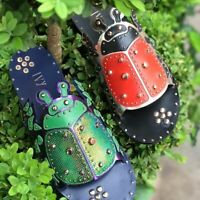 IVY KIRZHNER LADYBUG Electro Plum Leather Flat Embellished Slide Mule Sandals