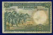 Belgian Congo Banknotes 10 Francs 1941 P14 FINE/VERY FINE ES-4