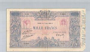 Francs 1000 Francs Blue And Pink 7 June 1926 X.2431 N° 60771622 Pick 67j