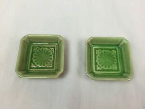 Vintage Small Square Decorative Sea Shell Candy Dish Crackle Green Lot Of 2