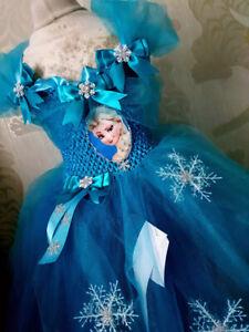 Elsa Girls Frozen (Inspired) Sparkly Party Tutu Dress Handmade