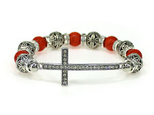 4030222 Beaded Cross Stretch Bracelet Faux Coral Christian Bling Filigree Design
