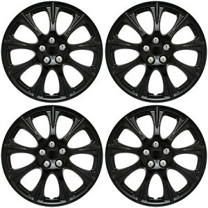 "4 Pc Set of 14"" ICE (SHINY) BLACK Hub Caps Skin Rim Cover for OEM Steel Wheel"