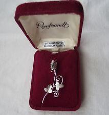 Beautiful Vintage Silver Flower Rose Brooch in Original Box Signed Ecco