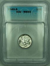 1945-S Mercury Silver Dime 10c Coin ICG MS-66 (C)