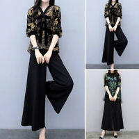 2pcs/Set Women's Casual Elegant V-Neck Half Sleeve Tops Wide-leg Pants Plus Size