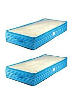2 Pcs Home Organizer Foldable Under Bed Storage Bag Container Handle Blue Strips