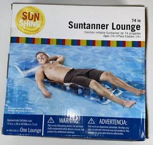 "My Sun Shine 18 Pocket Suntanner Inflatable Lounge Pool Air Tube Float Raft 74"""
