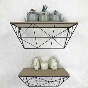 Set Of Two Black Industrial Metal Wooden Abstract Style Shelves